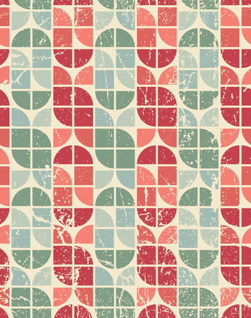 crannied: Colorful tattered textile geometric seamless pattern, vector abstract infinite retro background. Illustration