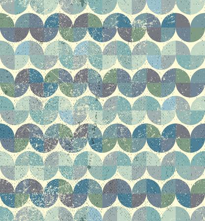 crannied: Worn textile geometric seamless pattern, decorative wavy abstract background. Illustration