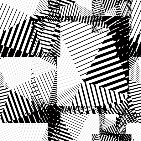 Black and white abstract lines seamless pattern. Vector psychedelic wallpaper with stripes and geometric figures. Vector