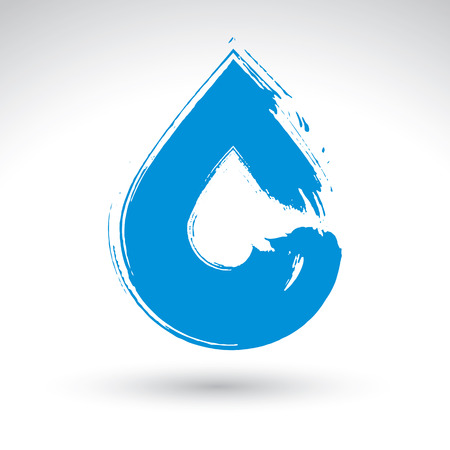Hand painted blue water drop icon isolated on white background, simple natural drop symbol created with real ink hand drawn brush scanned and vectorized, spa and resort sign.  Vector