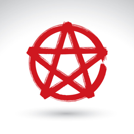 Hand drawn pentagram icon scanned and vectorized, brush drawing red magic polygonal star, hand-painted pentagram symbol isolated on white background. Vector