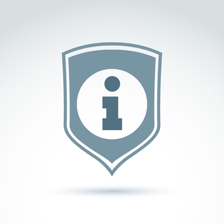 private i: Personal data protection icon, conceptual call center icon, information sign placed on a shield.
