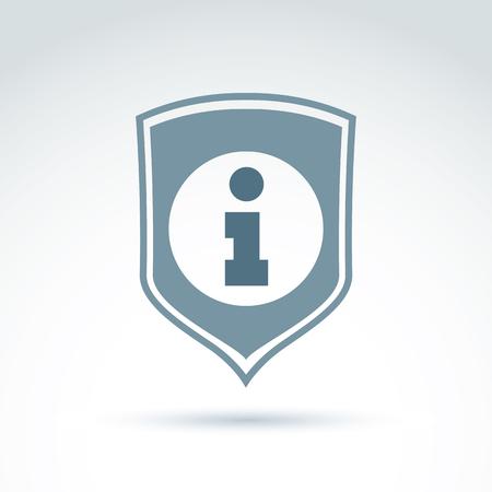 datos personales: Personal icono de protecci�n de datos, conceptual icono de centro de llamadas, signo de la informaci�n colocada en un escudo. Vectores