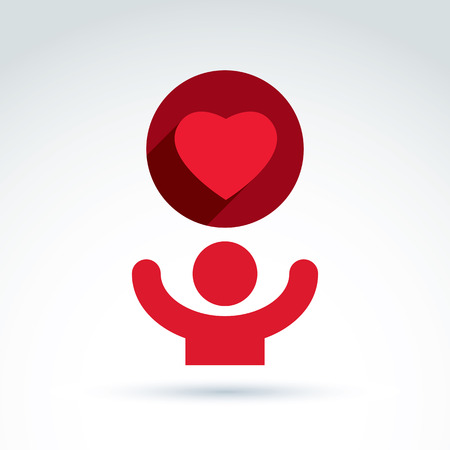 volunteer: Vector charity and donation symbol. Illustration of a red loving heart and a human with hands up. Concept of assistance and volunteer.
