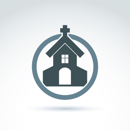 frontage: Christian church with a cross. Vector illustration of a temple placed in a circle, religion concept.