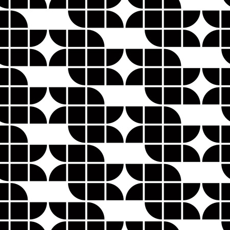 covering cells: Black and white geometric abstract seamless pattern, contrast regular squared background. Illustration