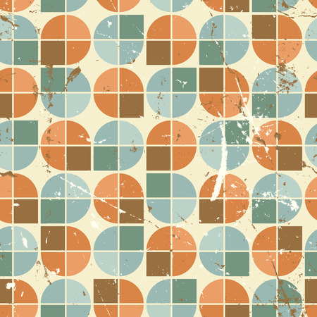 crannied: Vintage bright rounded geometric seamless pattern, vector segmented background.
