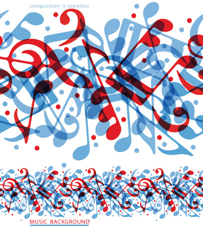 Vector colorful horizontal music canvas, seamless tape with aquatic musical notes on white background.  Vector