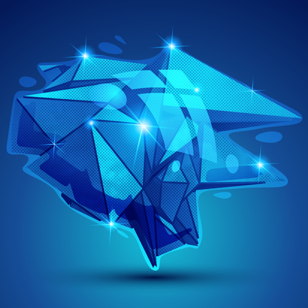 deformed: Vector futuristic object with sparkling effect, dimensional textured deformed figure.