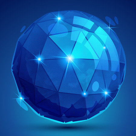 multifaceted: Plastic pixilated dimensional complicated spherical object, synthetic dotted geometric element.
