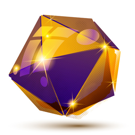 Vector futuristic object with sparkling effect, 3d textured deformed figure isolated on white background. Illustration