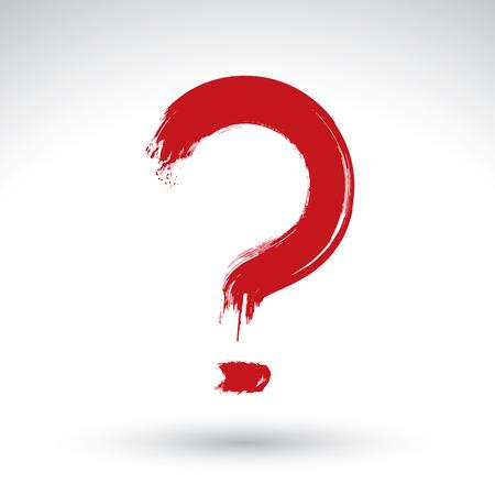 punctuation mark: Dibujado a mano roja icono de signo de interrogaci�n, pincel de dibujo Consulta signo, marca de puntuacion pintado a mano original aislada en el fondo blanco.
