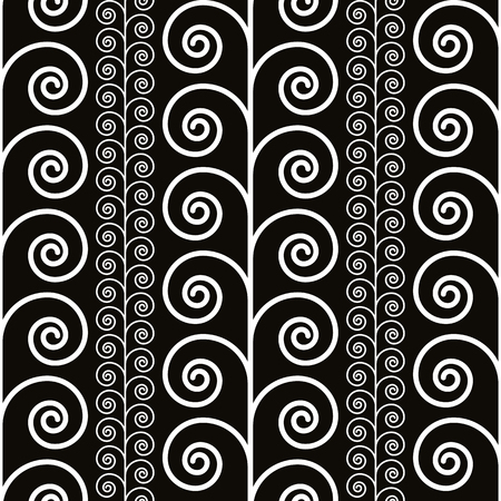 single coil: Curly floral plants seamless pattern, black and white vector background.