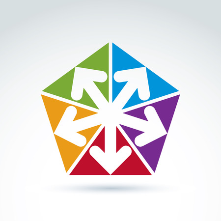 Vector abstract emblem with five multidirectional arrows placed in isosceles triangles – up, down, left, right. Conceptual corporate symbol, colorful pentagon icon. Vector