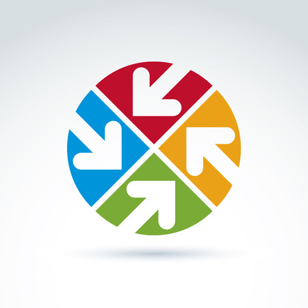 multidirectional: Vector abstract emblem with four multidirectional arrows placed in sectors – up, down, left, right. Conceptual corporate symbol, brand colorful round icon.