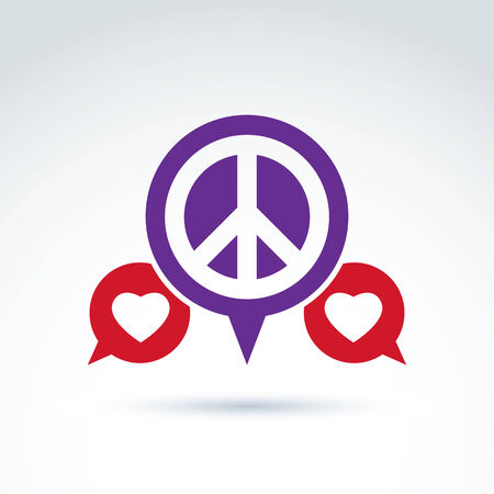Round Antiwar And Love Vector Icons Speech Bubbles With Peace