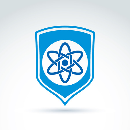 conceptual symbol: Science defending conceptual symbol, vector icon with shield and atom symbol.