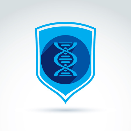 conceptual symbol: Health and science defending conceptual symbol, vector icon with shield and DNA symbol. Illustration