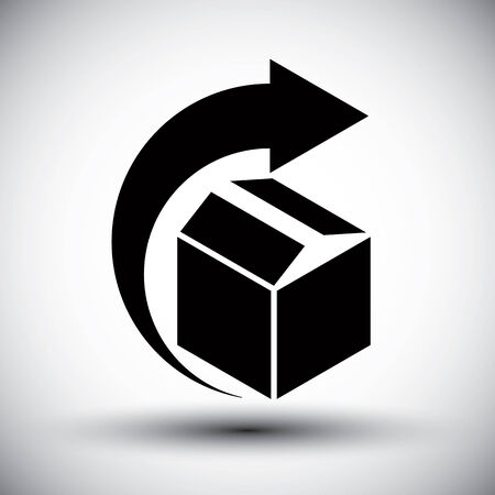Gift delivery conceptual icon, simple single color new idea vector symbol. Vector