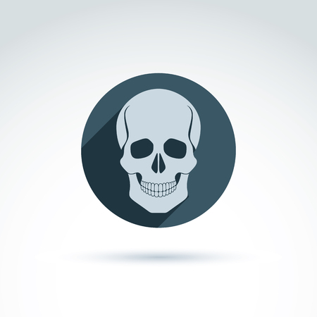 Vector illustration of a human skull in a circle. Dead head abstract symbol, cranium icon.