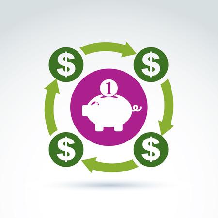 personal banking: Vettore bancario simbolo, icona sistema finanziario. Concetto personale di risparmio, illustrazione del ciclo di denaro. Icona Rosa salvadanaio.