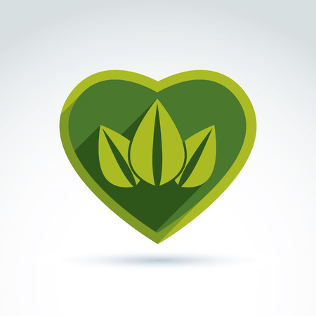 coronet: Green leaves in the shape of crown placed on a heart. Vector conceptual ecology coronet. Nature conservation idea.