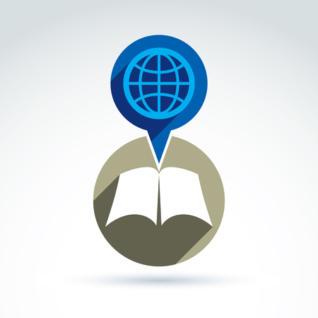 disclosed: Vector open book with blank sheets placed in a circle, illustration of a simple disclosed book and a speech bubble with a globe. Encyclopedia icon.