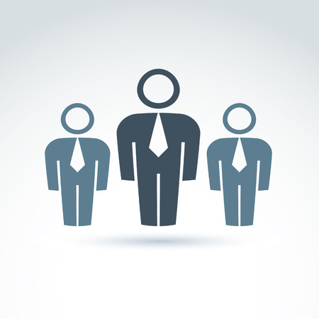 delegation: Vector illustration of silhouettes of people standing in front - teamwork concept.  Delegation group with a chief leader, white-collar workers.