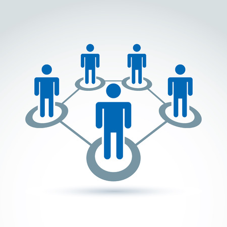 relationship strategy: Social network vector illustration, people relationship icon, conceptual link sign. Structure symbol with silhouettes of people standing in circles.