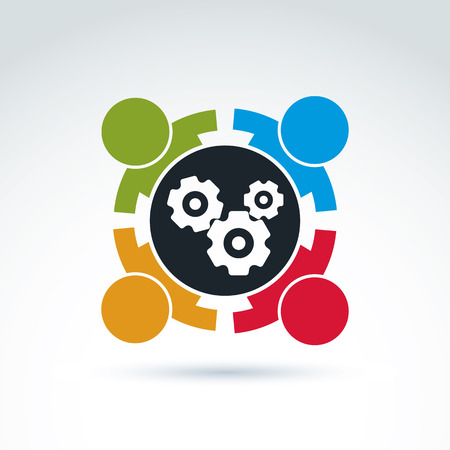 team power: Gears and cogs teamwork theme icon, vector conceptual stylish symbol for your design.