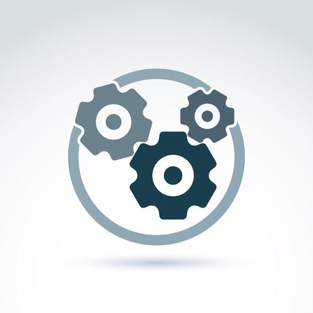 Vector illustration of an organization system, strategy concept. Cog-wheels and gears placed in a circle, service icon. Business and manufacturing process theme.  Vector