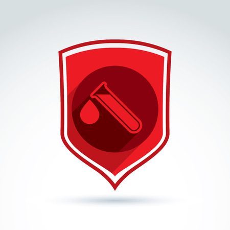 infected: Donor blood defense icon, test tube, virus, epidemic, vector conceptual stylish symbol for your design. Illustration