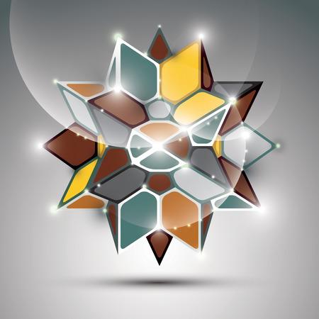 facet: 3D metal glossy kaleidoscope complicated object. Vector festive complex geometric illustration  shiny facet gemstone. Illustration