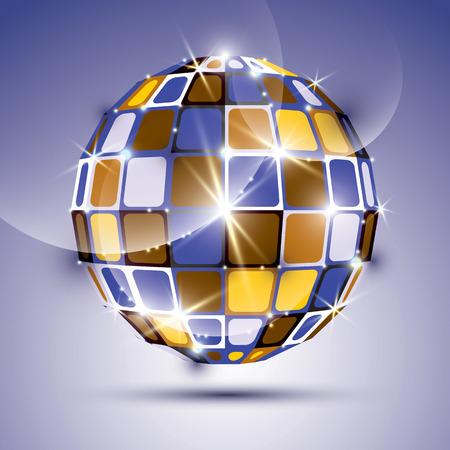 3D violette brillant miroir fractale balle créé à partir de figures géométriques. Vector illustration festive dimensions de bijoux lumineux. Vecteurs