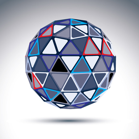 visual effect: Complicated gray urban spherical object, 3d fractal metallic sphere constructed from isosceles triangles with outline, geometric illustration with a kaleidoscope visual effect.