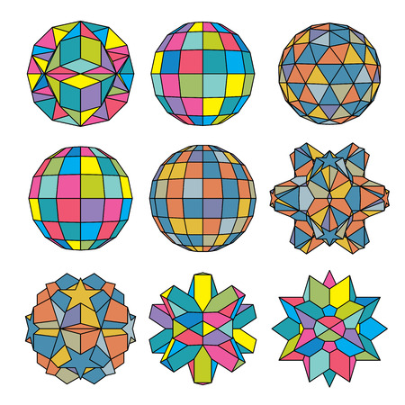 facet: Collection of 9 complex dimensional spheres and abstract geometric figures with black outline. Colorful kaleidoscope facet. Fractal 3D symbolic globes. Illustration