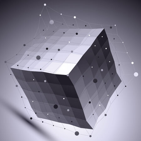 undulate: 3D vector abstract technological illustration, perspective geometric unusual background with wireframe. Contrast dark backdrop with undulate cube and connected lines and dots.