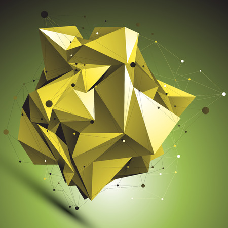 spatial: Gold abstract asymmetric vector object with lines mesh over shaded background. Dimensional geometric deformed symbol with wire network. Illustration