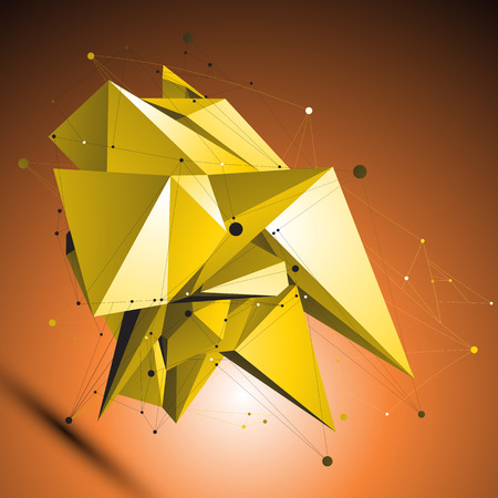 deformed: Gold spatial technological shape, polygonal wireframe object placed over dark shaded background. Dimensional geometric deformed symbol with wire network. Illustration