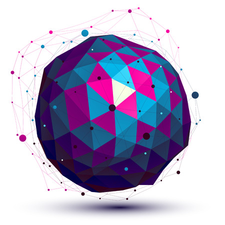 Geometric colorful figure with wire mesh, spherical modern science and technology element. Vector