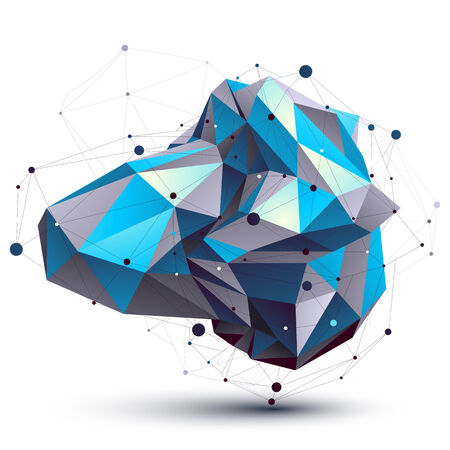 Blue abstract 3D structure polygonal vector object, cosmic network element. Cybernetic  art deformed figure isolated on white background. Illustration