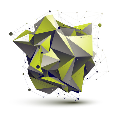 Cybernetic asymmetric stylish construction, light green abstract dimensional figure with lines mesh. Vector