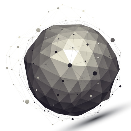 Geometric contrast spherical figure with wire mesh, modern science and tech element.