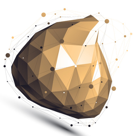 spatial: Gold 3D vector abstract design object, polygonal complicated figure with lines mesh isolated on white background.