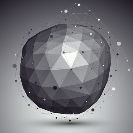 3D mesh modern stylish abstract background, origami black and white facet structure. Vector