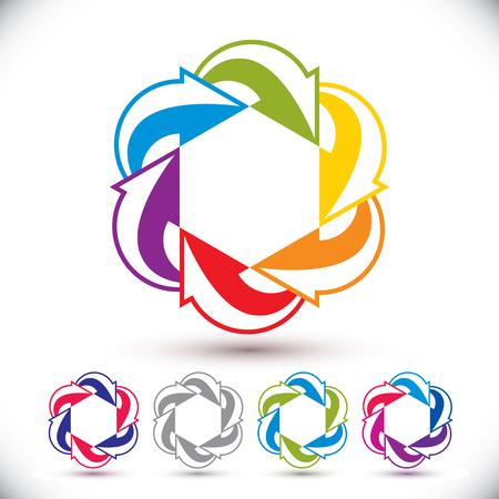 Arrows abstract conceptual symbol template, vector pictogram set. Vector