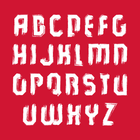 verb: Vector white hand-painted capital letters isolated on red background, stroked uppercase art script.