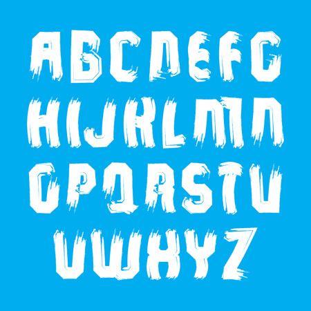 verb: Handwritten white vector uppercase letters, stylish letters set drawn with ink brush, doodle alphabet.