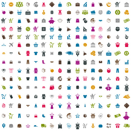 240  shopping icons vector set, includes money icons, clothes icons, packaging icons, gift box, bags, carts, vector signs collection. Vector
