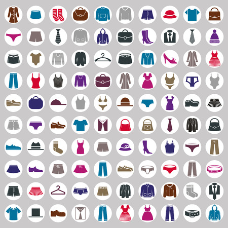 cloth: Clothes icons vector collection, vector icon set of fashion signs and symbols.